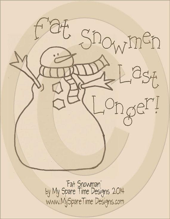 Primitive Snowman Pattern, Primitive Snowman Graphic, Primitive ...
