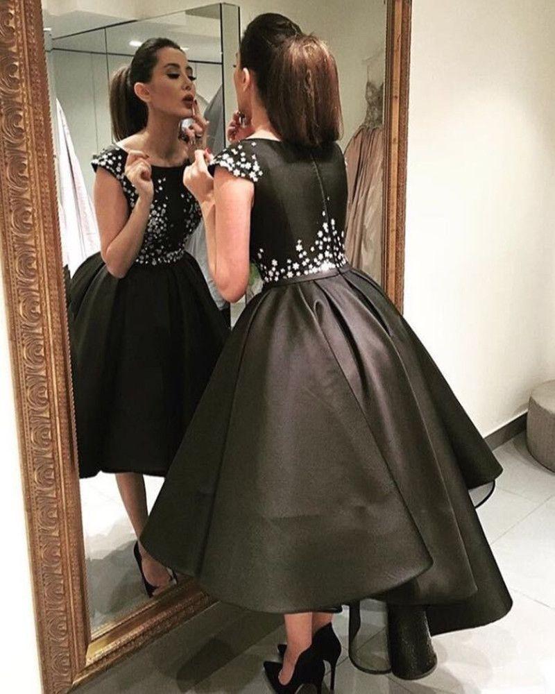 Robes de soiree arabic style elegant high low evening dresses black
