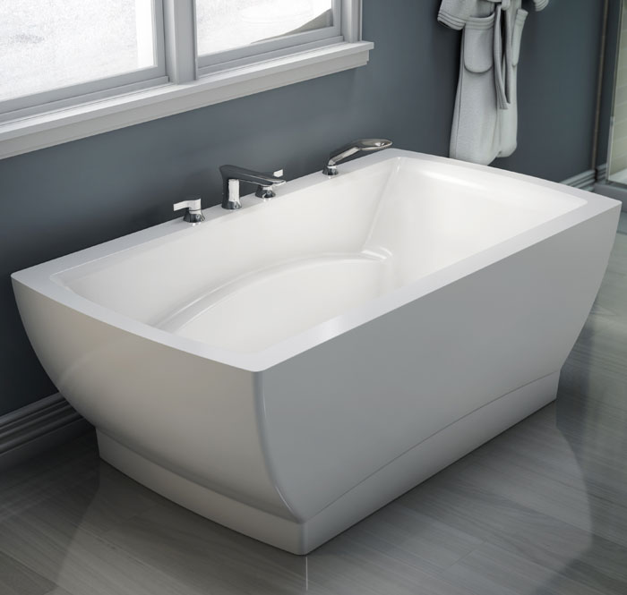 Rectangle Freestanding Soaking Or Air Tub Center Drain Faucets