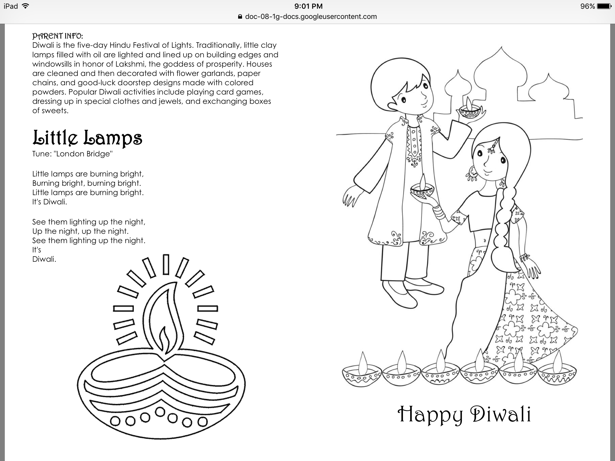 Diwali Info Sheet
