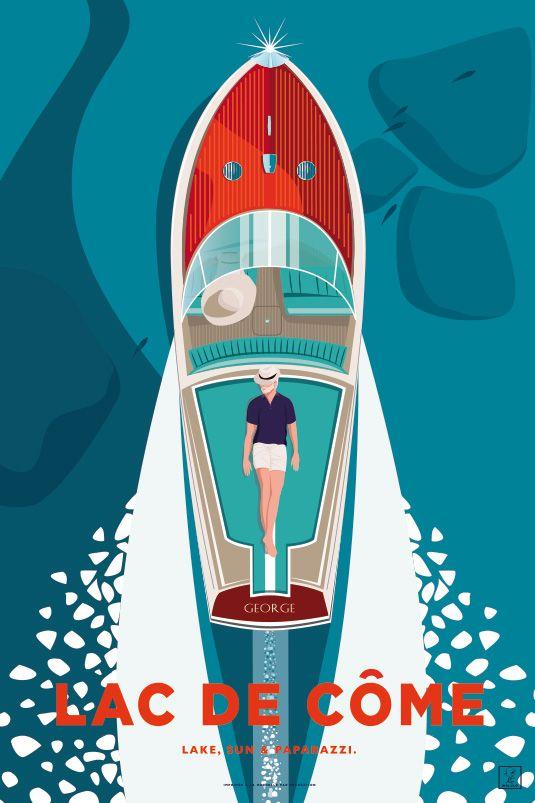 Atelier Rochelais Specialise Dans La Creation D Affiches Originales Illustrant Entre Autres Choses Le Lac De Come En En 2020 Affiches Lac Affiches Retro Lac De Come