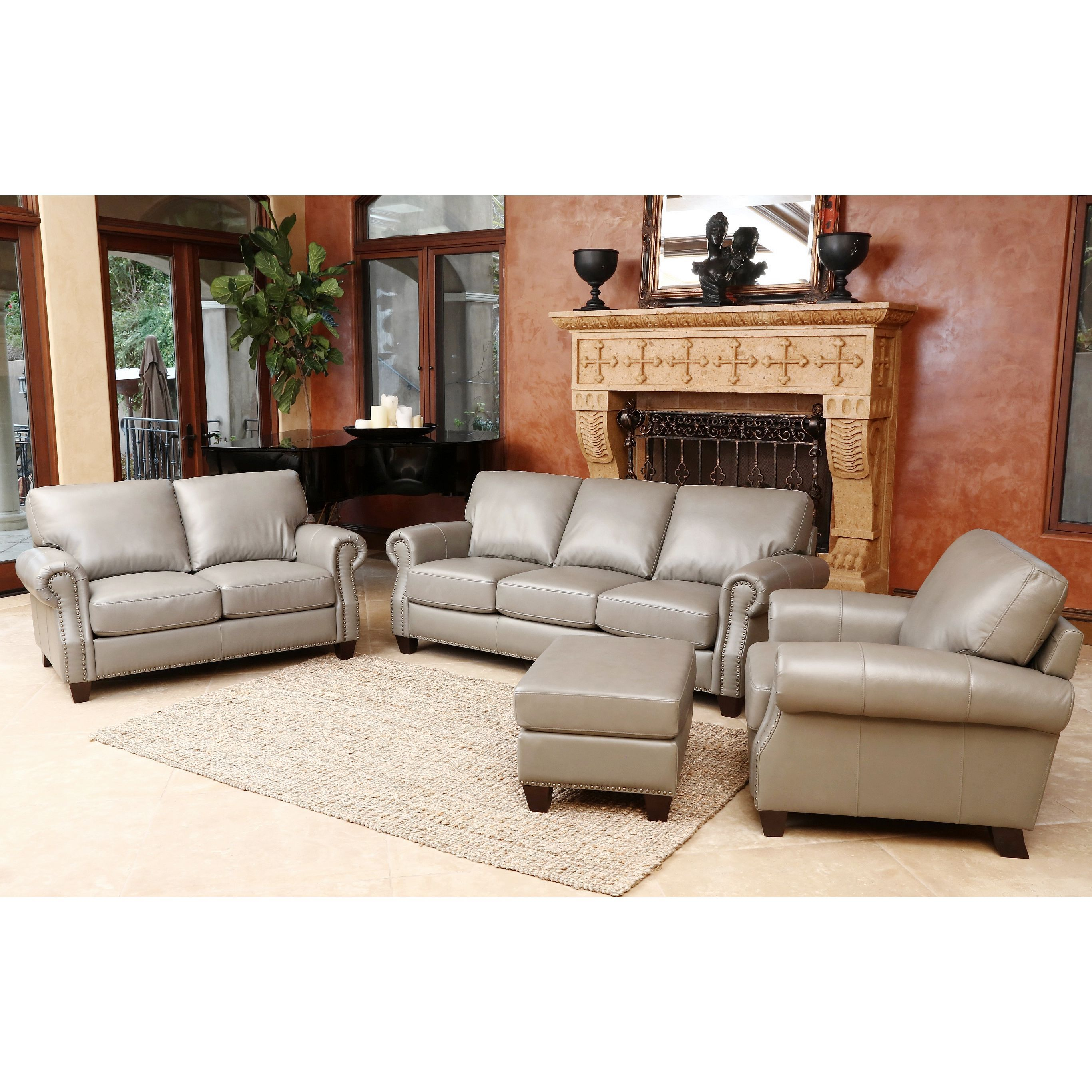 Abbyson living landon piece top grain leather sofa loveseat