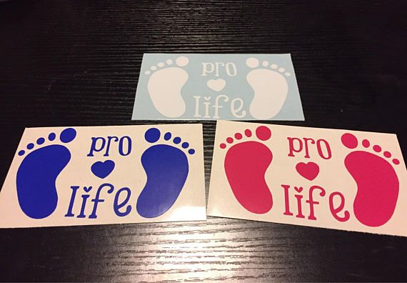 Anti Abortion Decal Footprints Pro Life Bumper Sticker