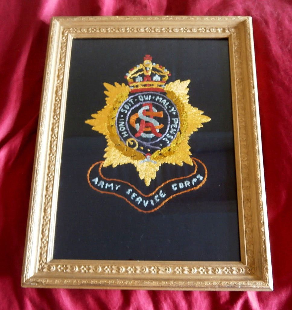 Army service corps. #framed hand #embroidered #badge ww1 ...