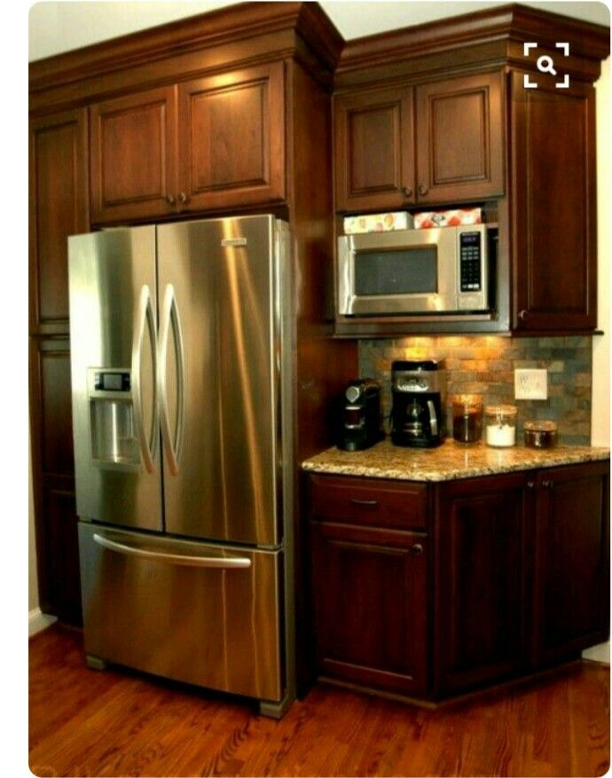 Like having the microwave there next to the fridge | kitchen ...