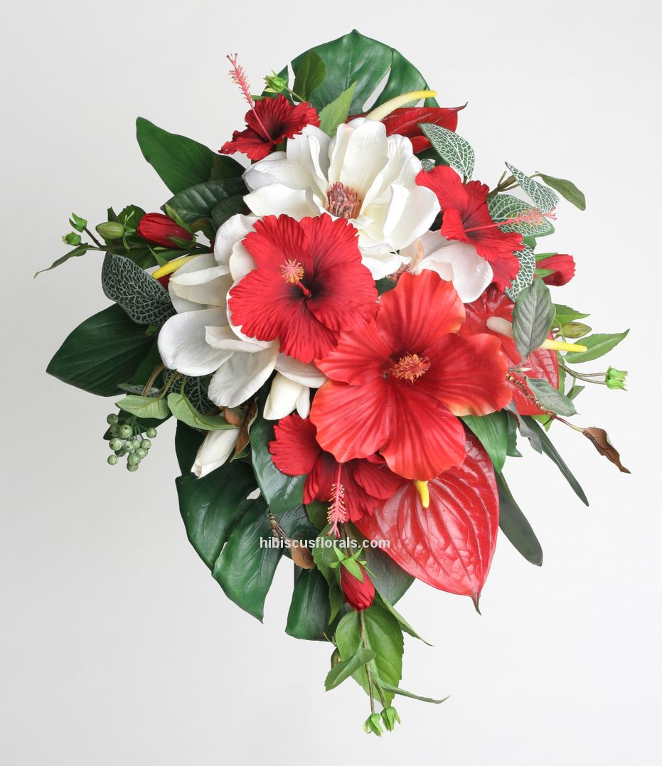 Yes Yes Yes 3 Hibiscus I Ll Probably End Up With Roses Though They Are The Shade Of Red And E Hibiscus Wedding Red Bouquet Wedding Tropical Bridal Bouquet