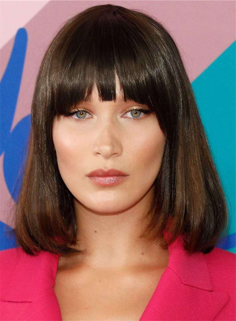 Medium Natural Straight With Bangs Synthetic Hair Capless Women Wig ... b320b6f562