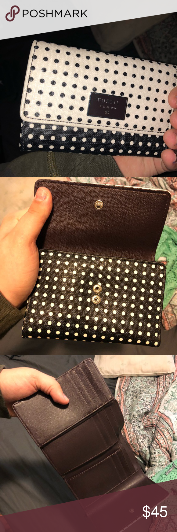 Fossil brand polka dot wallet This wallet is so unique! It's got one side black and white polka dots and the other side white with black polka dots. The inside is dark brown. So many card holders . Wallet is in amazing condition only used a couple times Fossil Bags Wallets