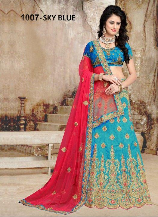 1a26879862 Buy Banglori Silk Sky Blue Heavy Lehenga Choli | Women's Fashion ...