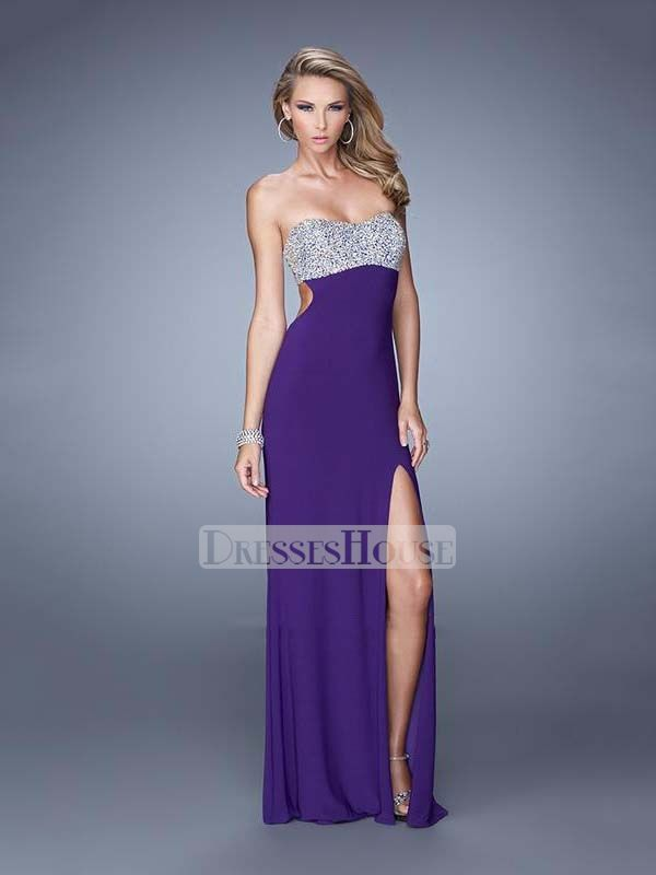8060532fb6f Sheath Strapless High Slit Cutout Back Beaded Chiffon Prom Dress PD12015
