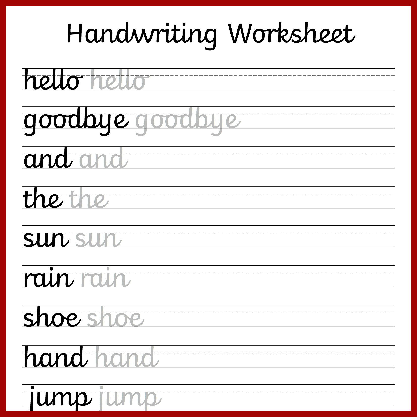 Cursive Handwriting Worksheets Free Printable