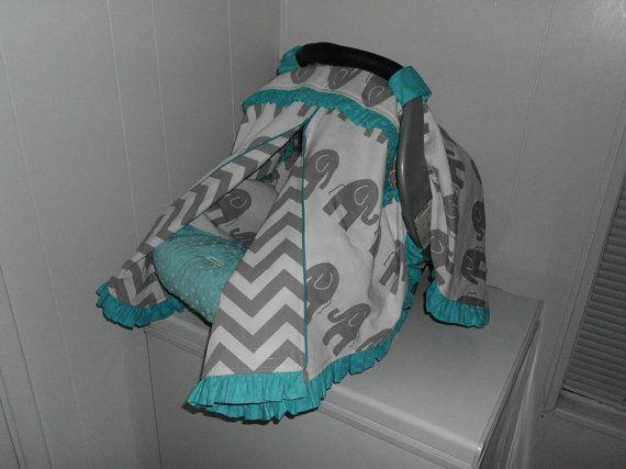 GREY ELEPHANT CHEVRON And Aqua Blue Ruffles Zippered Infant Car Seat Cover Canopy Tent