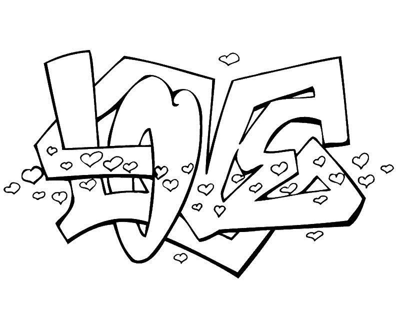 Graffiti Kleurplaten Cool.Graffiti Love Kleurplaten Graffiti En Hart Tatoeage Ontwerpen