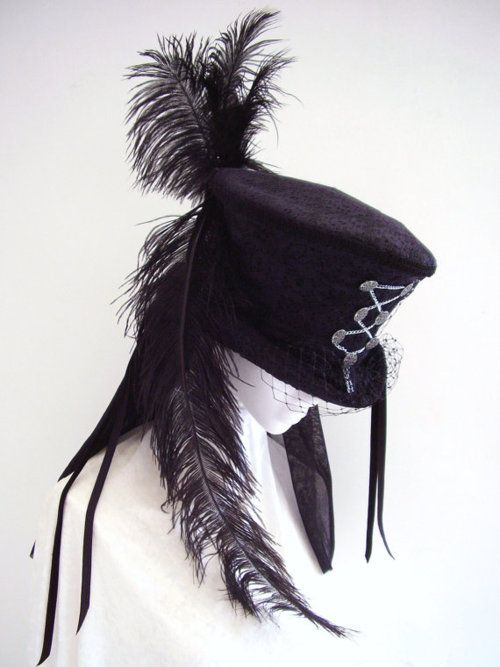 Steampunk Black Neo Victorian Mourning Top Hat
