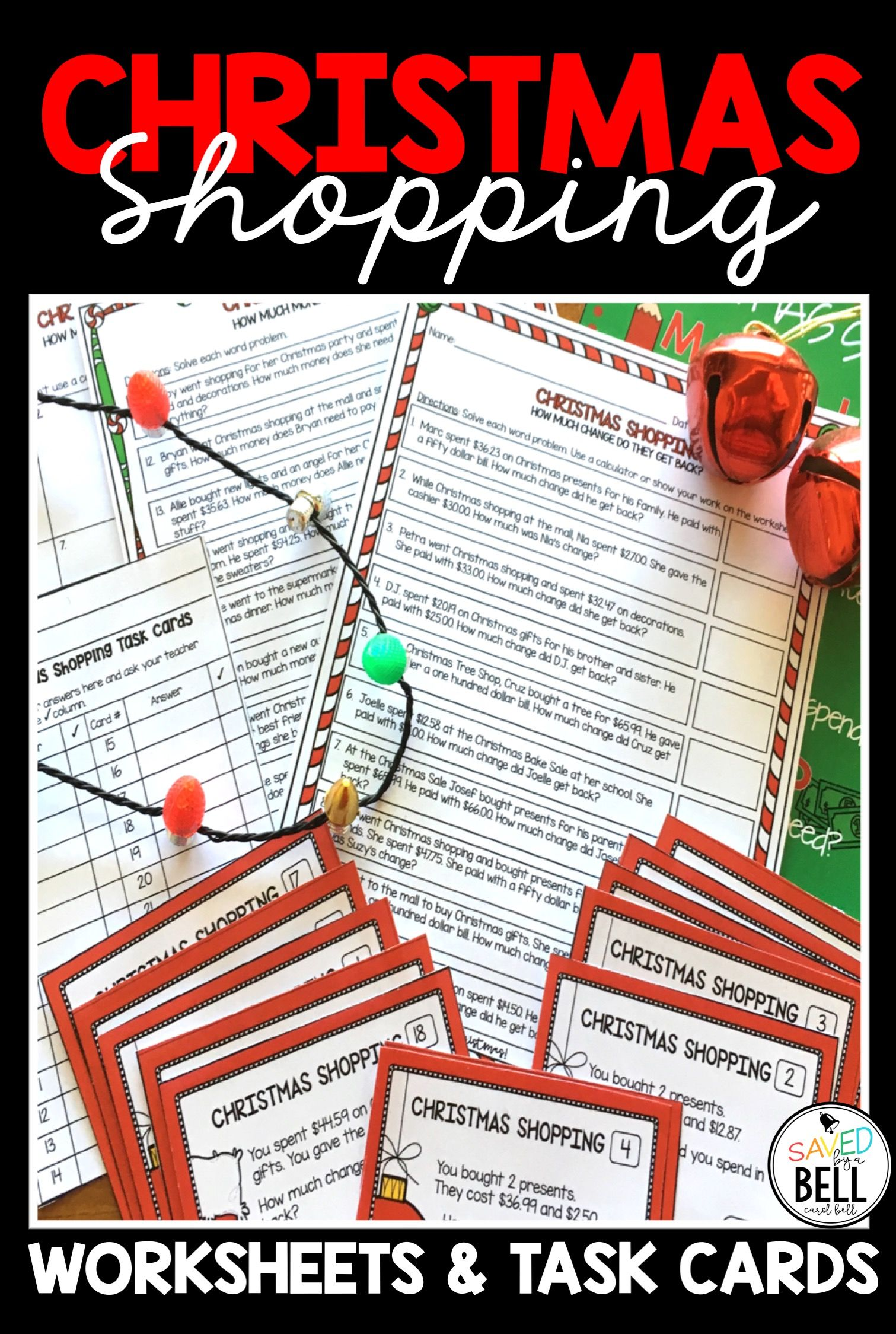 Christmas Math Worksheets And Task Cards Addition