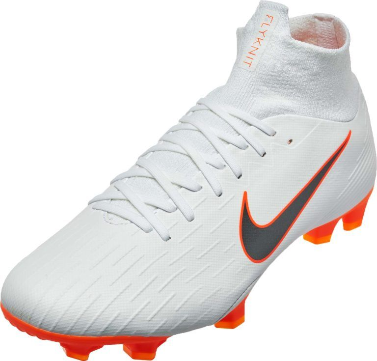 Nike Mercurial Superfly 6 Pro Fg White Total Orange Soccer Cleats Superfly Soccer Cleats Football Boots