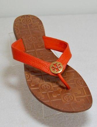 731f6b266f0a Tory Burch Orange Thora Grained Leather Thong Sandals Flats Size US 10  Regular (M