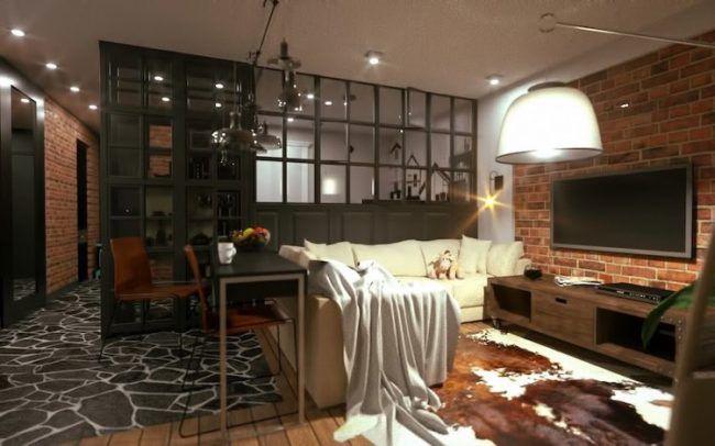 offene-küche-abtrennen-wohnzimmer-halbhoch-schwarz-glas-vitrine - offene kuche wohnzimmer
