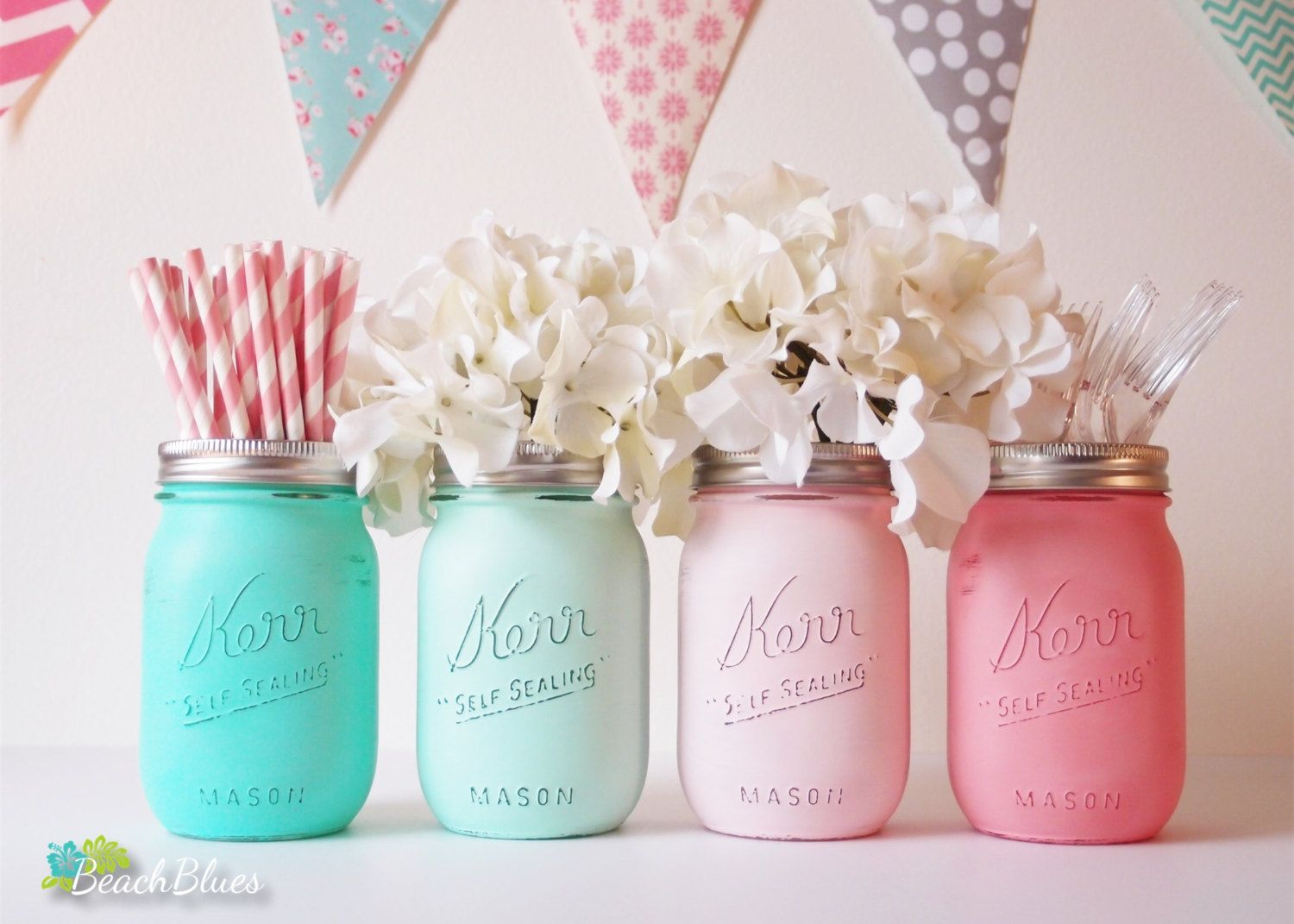 Baby shower centerpiece painted mason jars decoration home decor baby shower centerpiece painted mason jars decoration home decor vase neutral boy girl aqua mint pink reviewsmspy