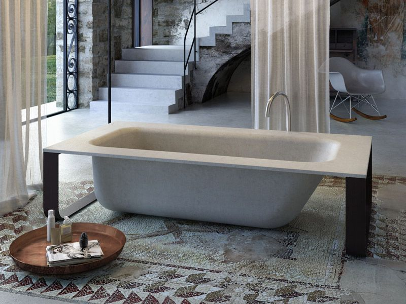 Freestanding bathtub CONCRETE | Bathtub - GLASS IDROMASSAGGIO