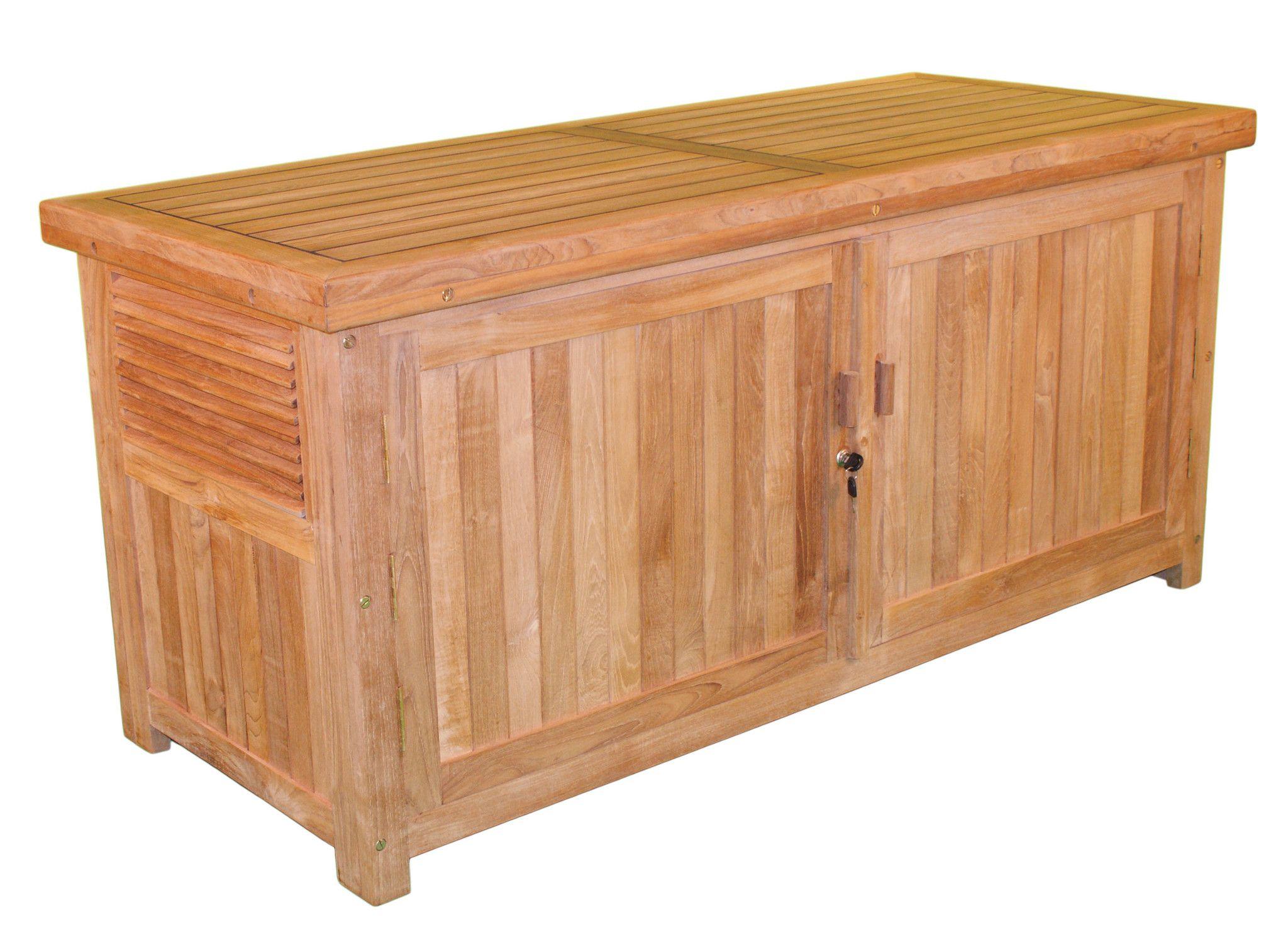 Jewels Of Java Teak Cushion Box With Front Door Deck Box