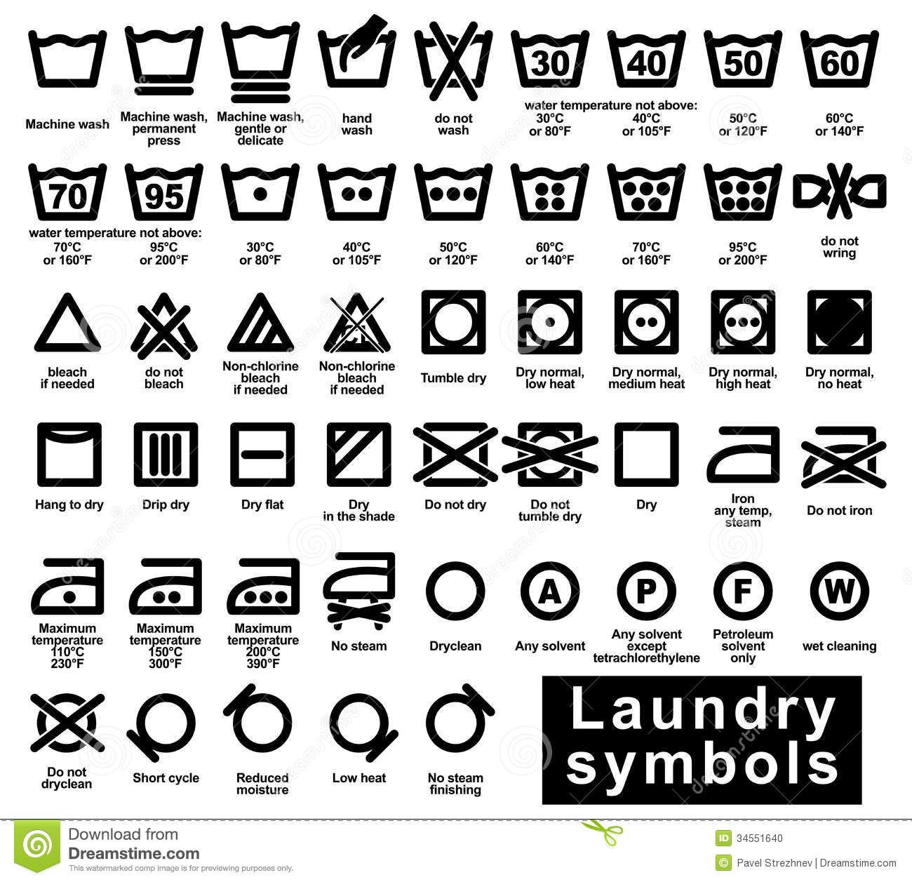 icon set of laundry symbols stock photo image 34551640 for the home pinterest. Black Bedroom Furniture Sets. Home Design Ideas