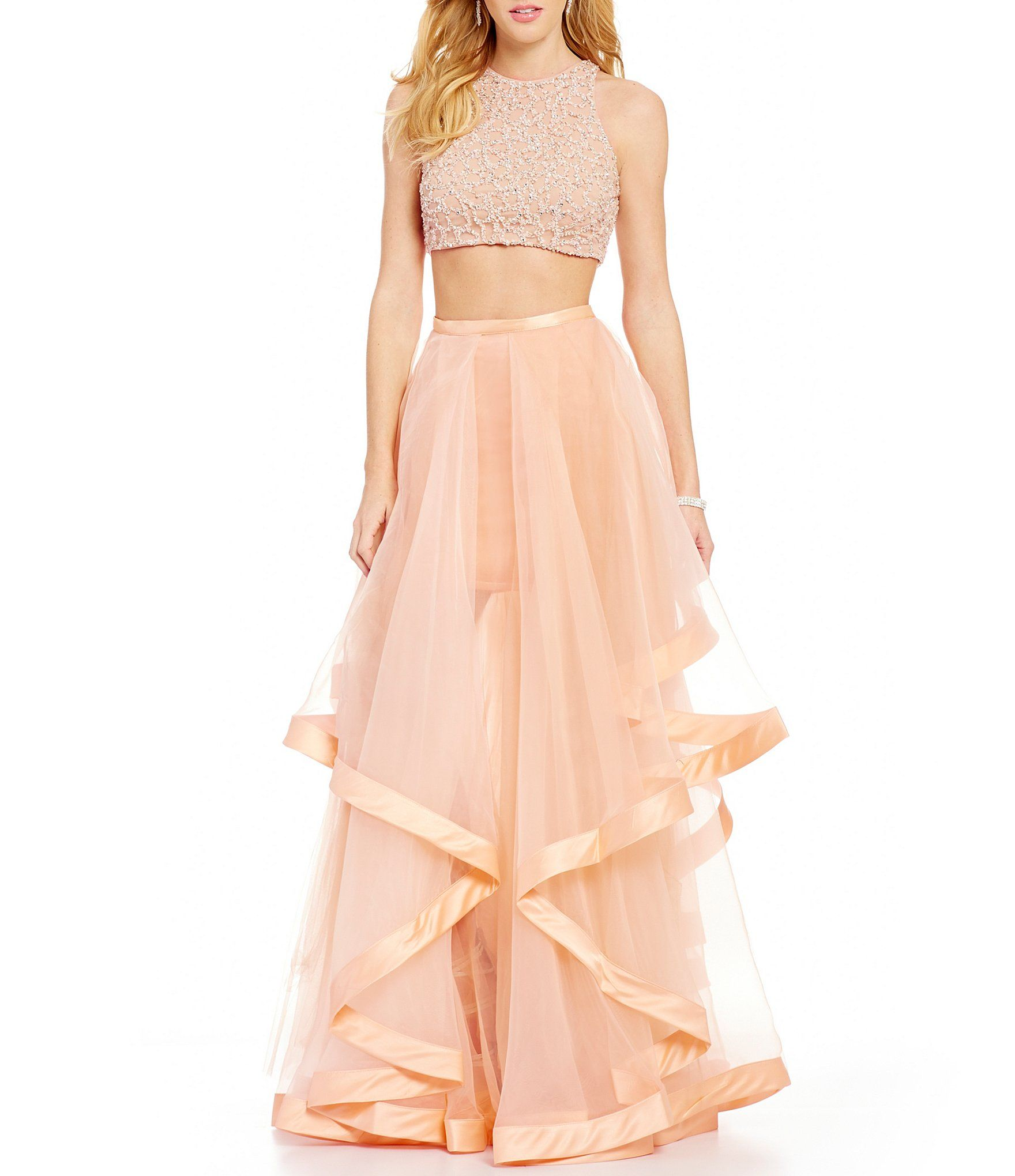 Glamour By Terani Couture High Neck Beaded Bodice Crop Top Two Piece