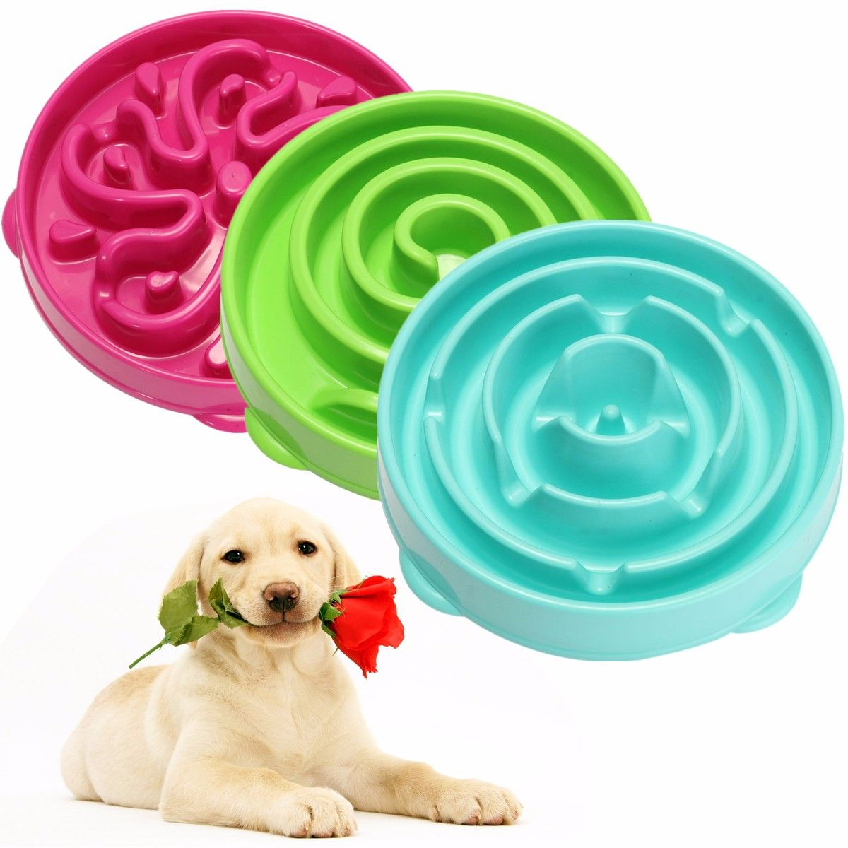 Us 21 63 Pet Dog Cat Interactive Slow Food Bowl Healthy Feed Dish