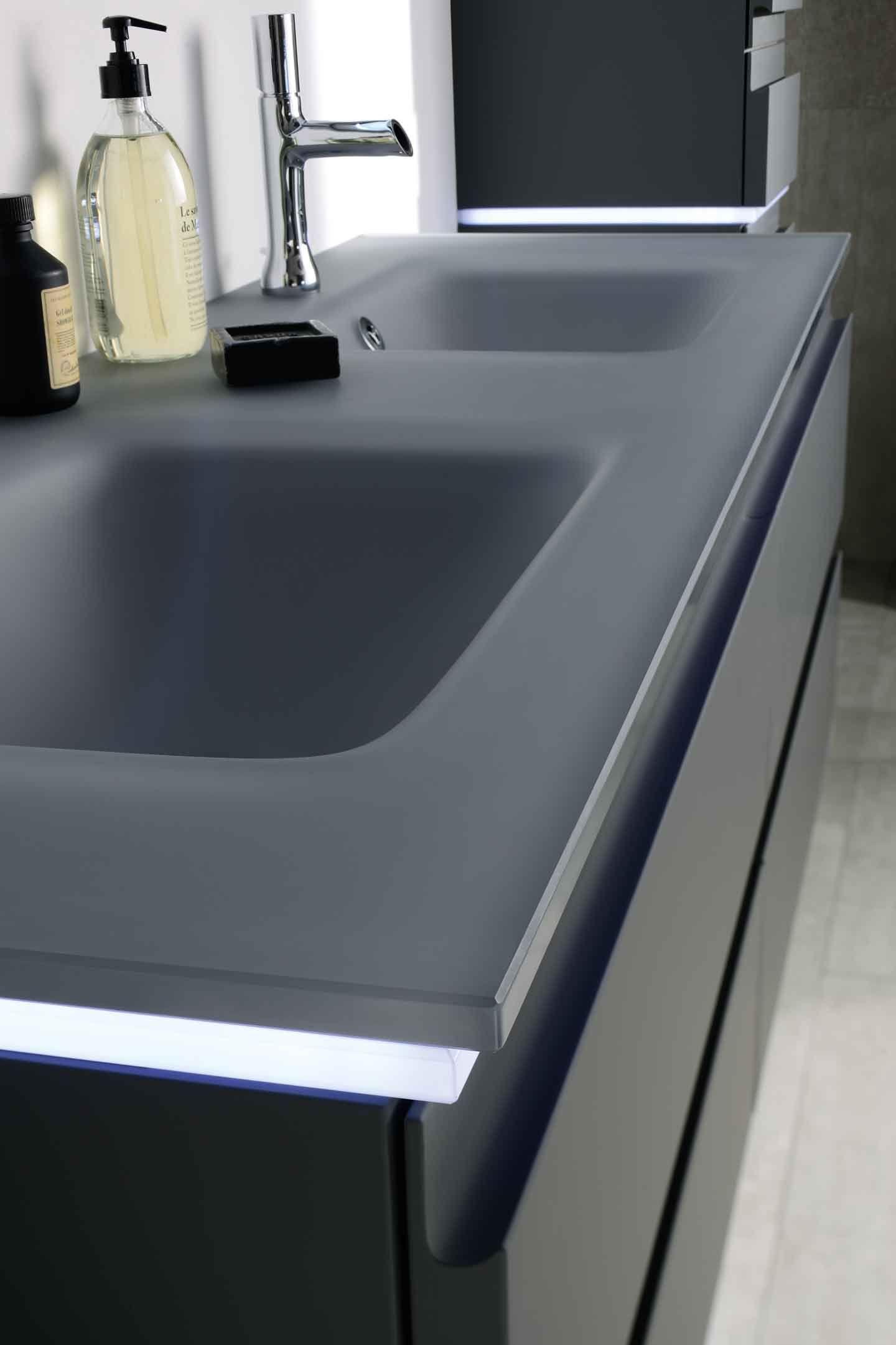 vasque a poser grise 2 meuble halo, Sanijura, Plan vasque en verre gris givré