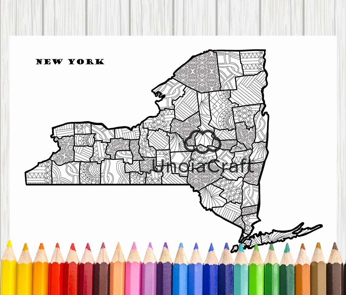 New York Map Coloring Page New York Map Print Zentangle Art Usa
