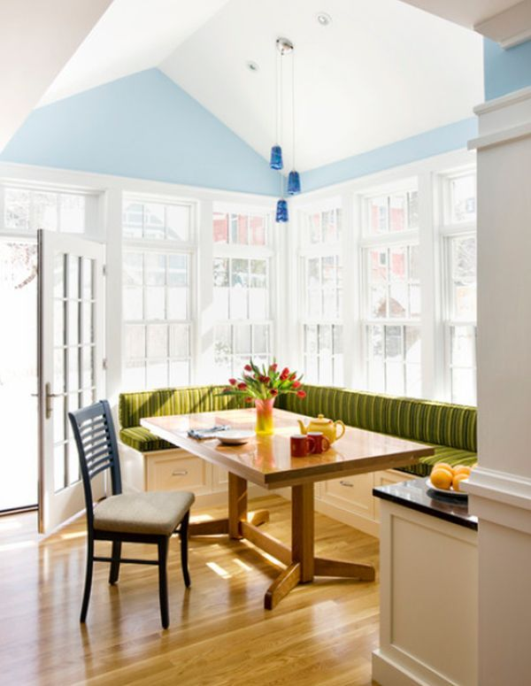 Beau Fresh L Shaped Breakfast Nook With Green Seating And Large Windows