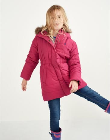 JNR MERRYDALE Girls Pink Padded Longline Coat with faux fur trim ...
