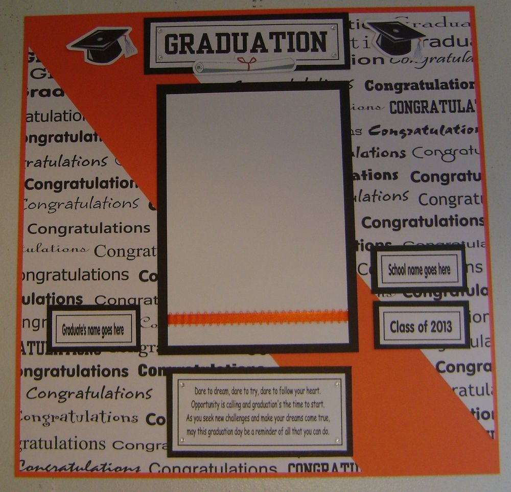 Scrapbook ideas names - 1 Pre Made 12 X 12 Graduation Scrapbook Page Personalized Name And School