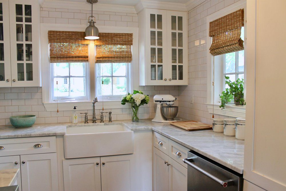 Delicieux Prime Design Memphis, LLC   Small White Kitchen, Marble Countertops, And  Subway Tile