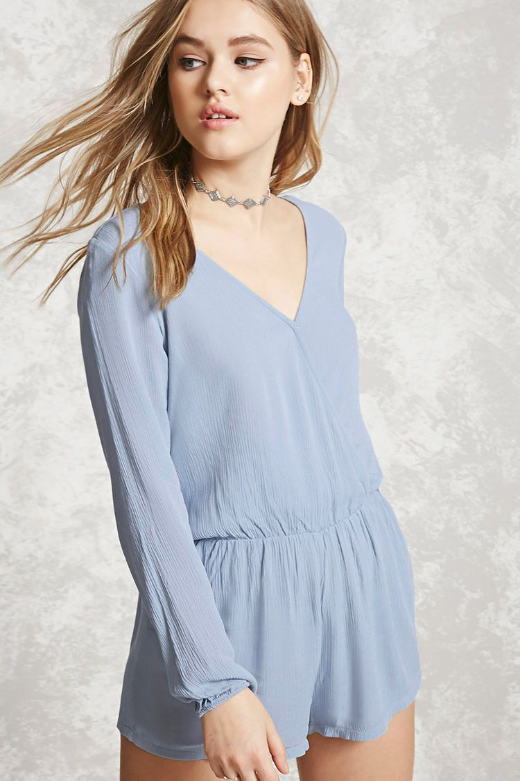 Style deals a crinkled woven romper featuring a surplice neckline