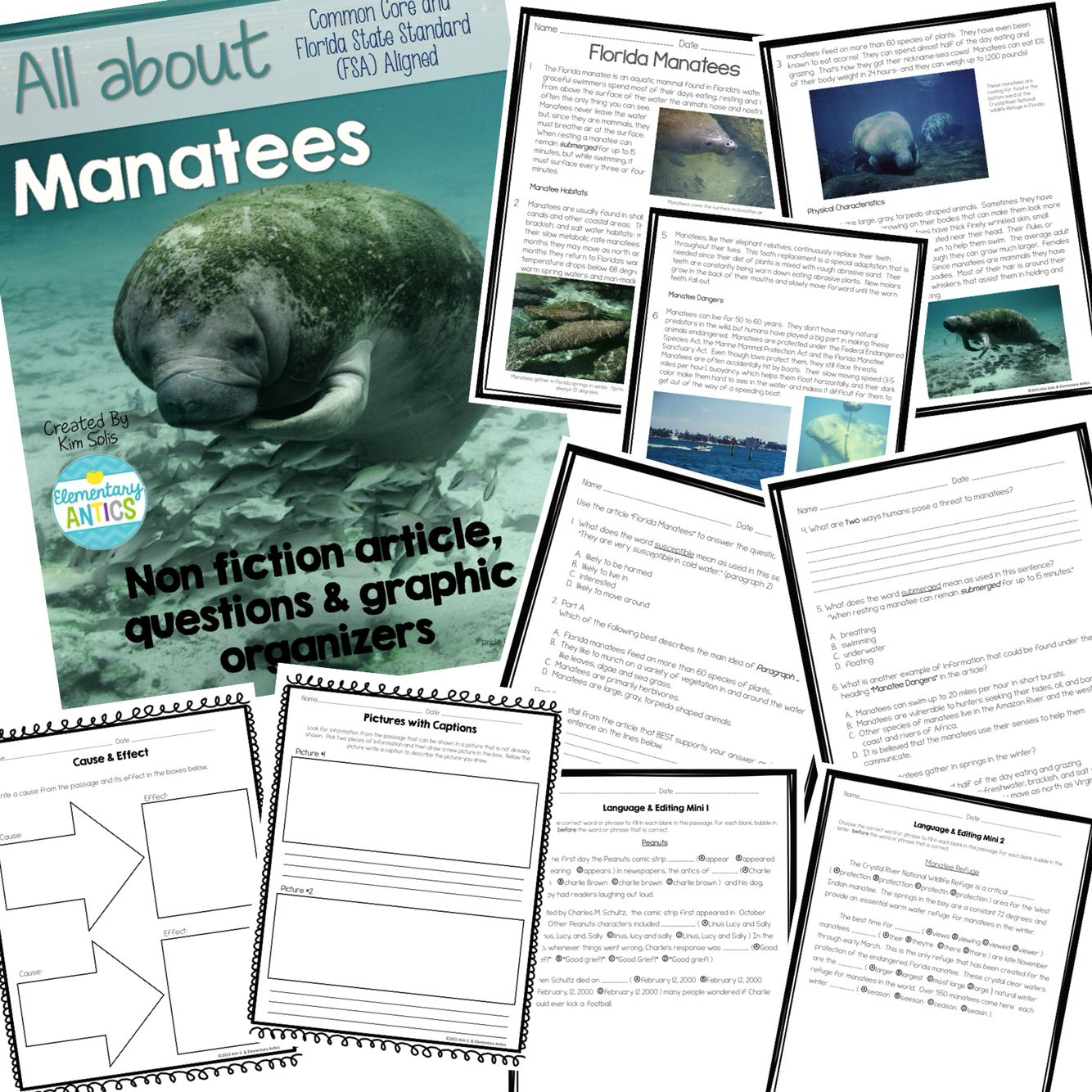 Fsa Amp Ccss Aligned Manatees Reading And Language Editing