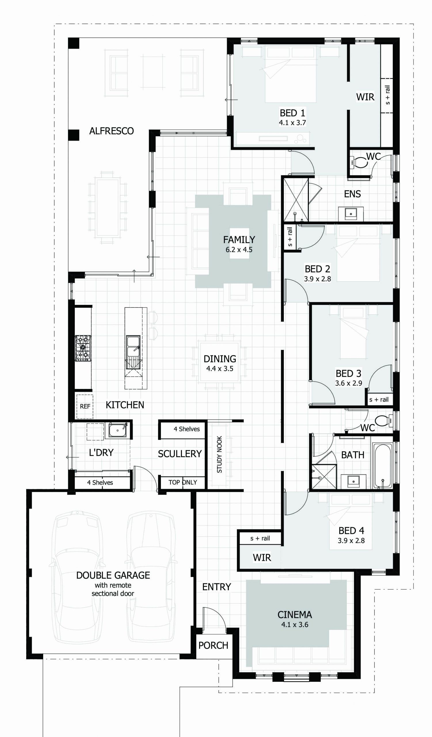 4 Bedroom Home Floor Plans In 2020 Single Storey House Plans Bedroom House Plans 4 Bedroom House Plans