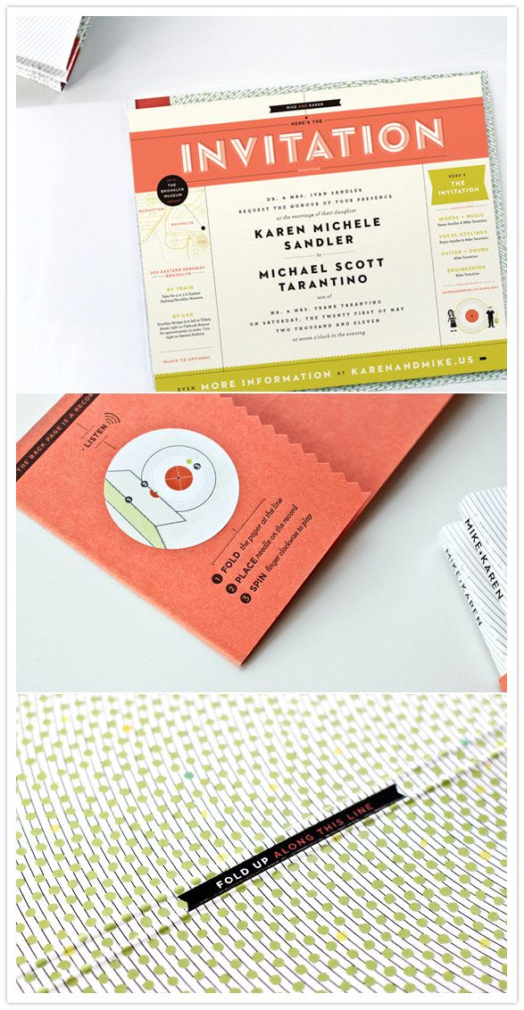 A record player invitation that actually plays the record!  The perfect choice for this musical couple.    Invitation:  Kelli Anderson