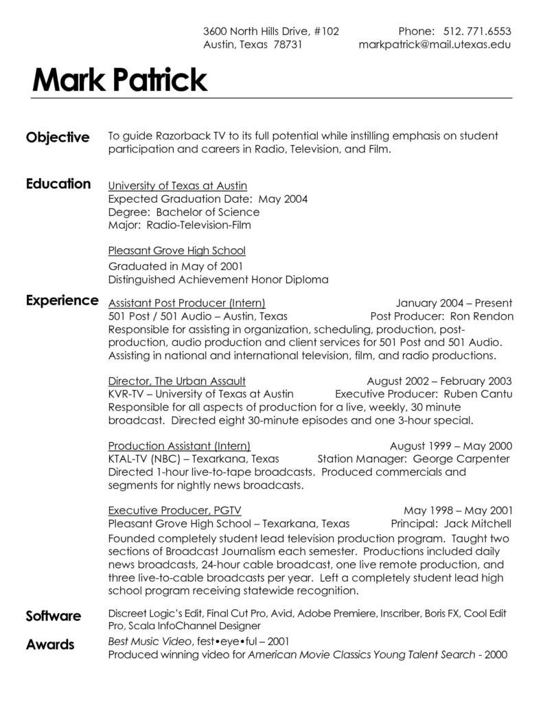 Television Producer Sample Resume Art Handler Radio Warehouse