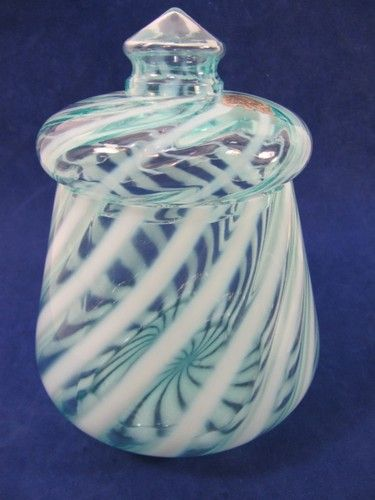 Vintage Fenton Opalescent Swirl Aqua Turqoise White Lidded Biscuit Jar Labels | eBay