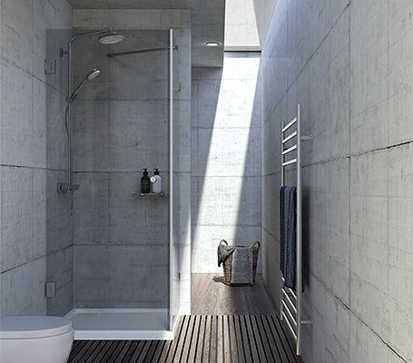 ミニマルデザインを追求 ガラス張りのシャワーブース シャワー