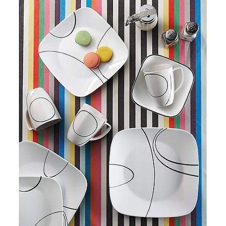 Corelle Squares Simple Lines 32-Piece Dinnerware Set Service for 8 - Walmart.  sc 1 st  Pinterest & Corelle Squares Simple Lines 32-Piece Dinnerware Set Service for 8 ...