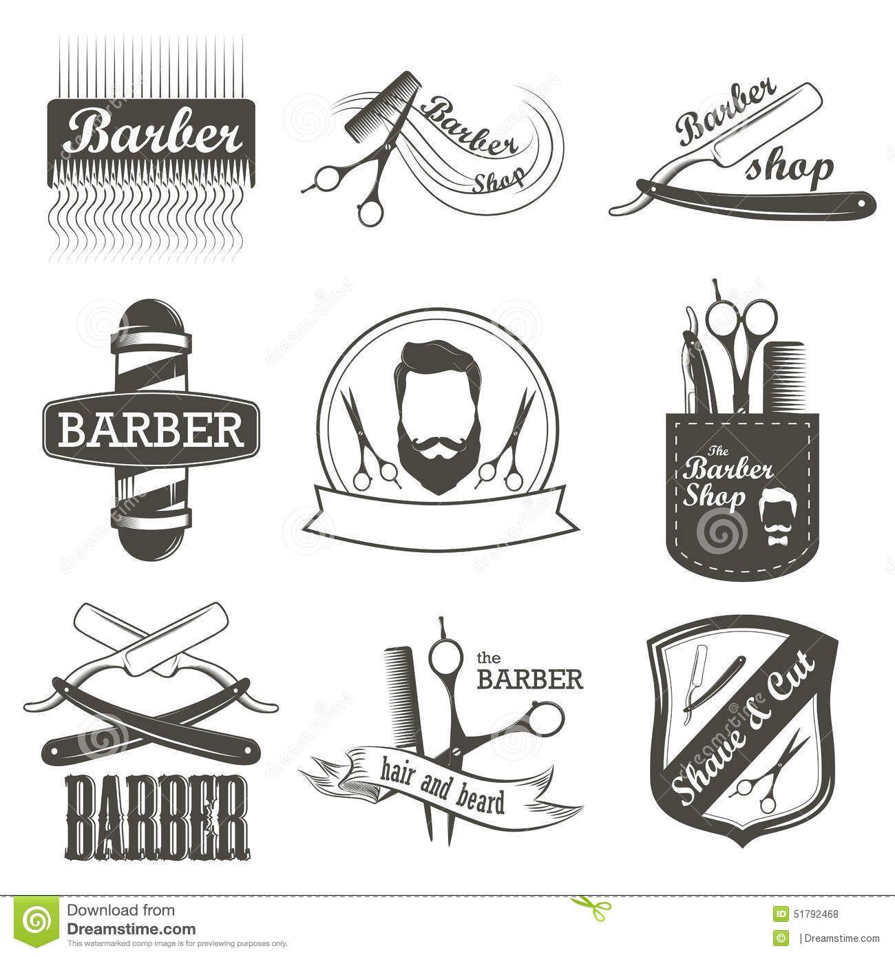 Http Thumbs Dreamstime Com Z Set Vintage Barber Shop Logo Labels Badges Emblems Label Designed Elements Ideias Para Barbearias Elementos De Design Barbeiros