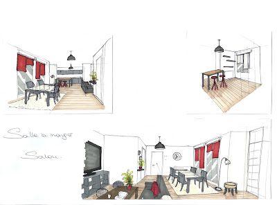 Croquis D Ambiance Decoration D Un Salon Salle A Manger Amenagement Interieur Decoration Salon