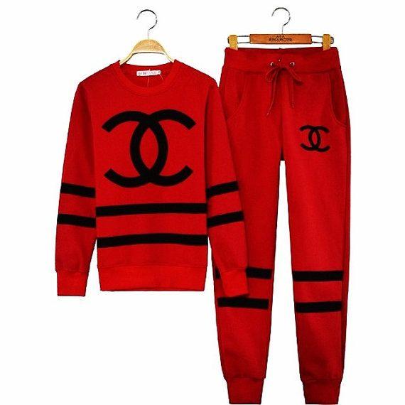 Chanel Sweatsuit On Etsy 6500 Designersssss Fashion Sporty