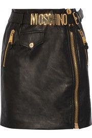 MoschinoBelted leather mini skirt