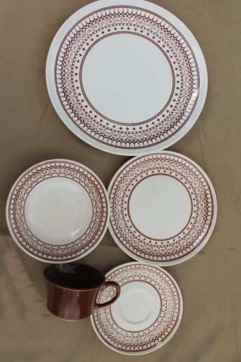 Vintage Sears Ranchero pattern dinnerware set for two with cattle brands border print - these & Vintage Sears Ranchero pattern dinnerware set for two with cattle ...
