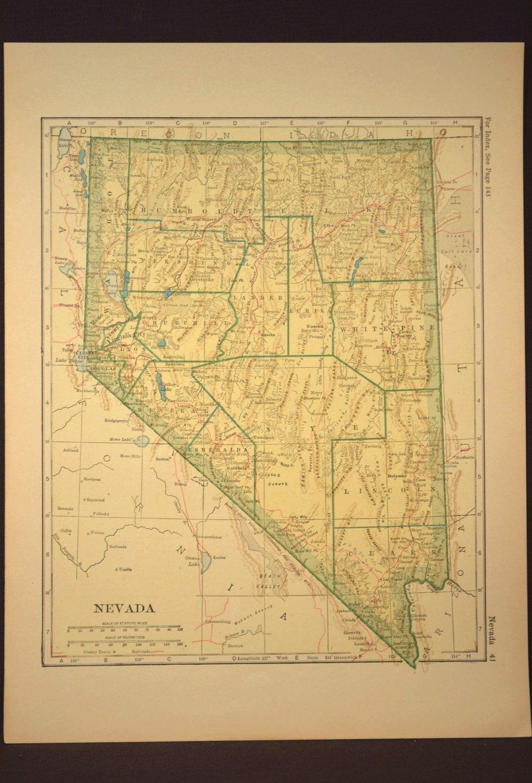 Nevada Map Nevada Antique Original Railroad 1920s Yellow | Map Wall ...