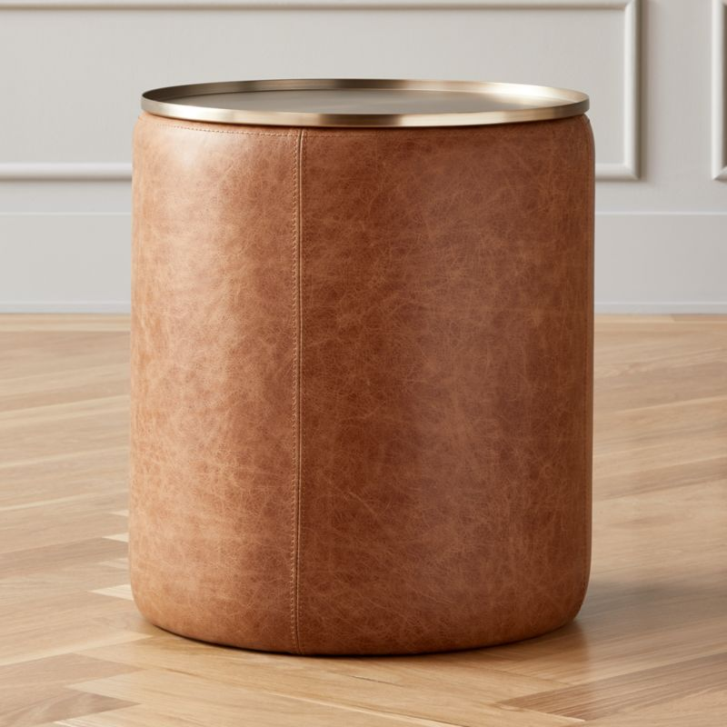 Stitch Leather Round Storage Side Table Reviews Leather Side