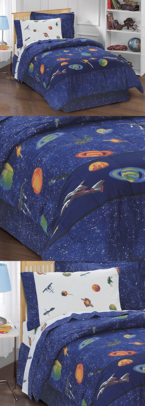 Dream Factory Outer Space Satellites Boys Comforter Set